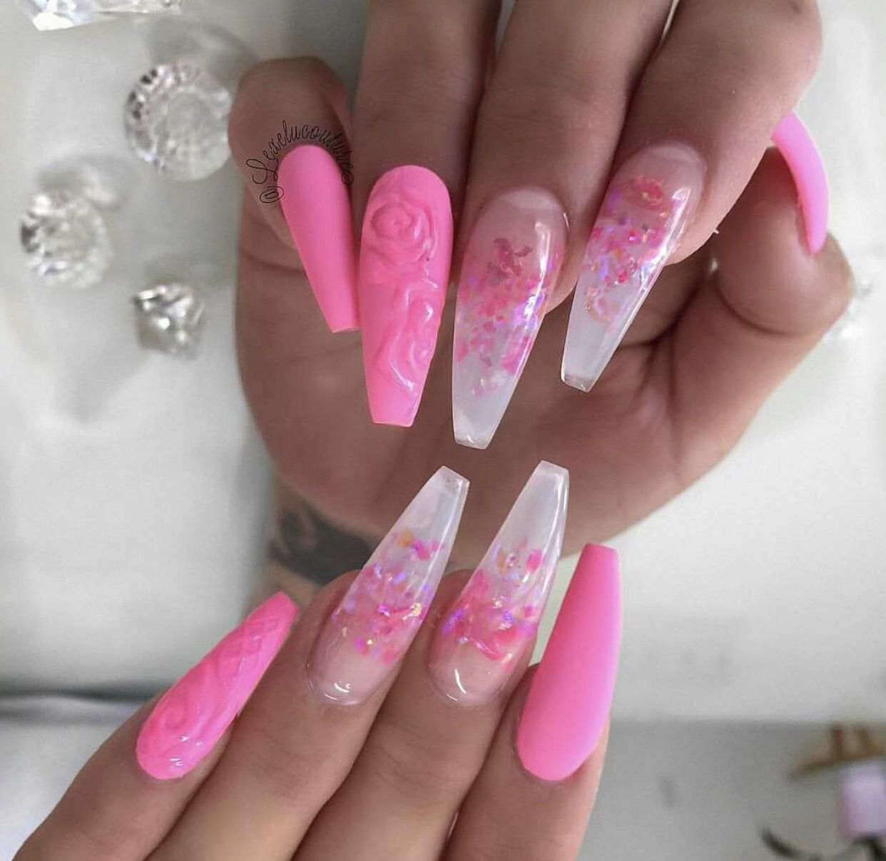 fluorescent pink acrylic nails photo - 1