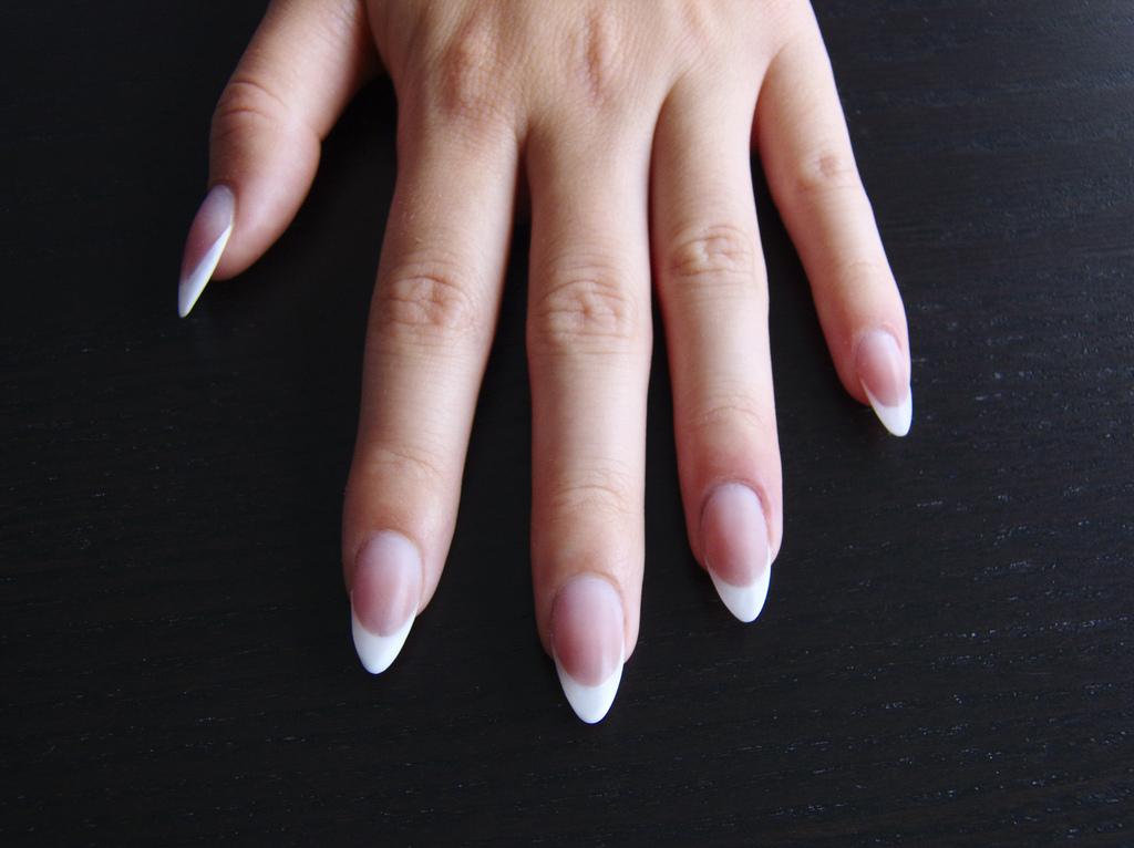 french acrylic nails almond shape photo - 1