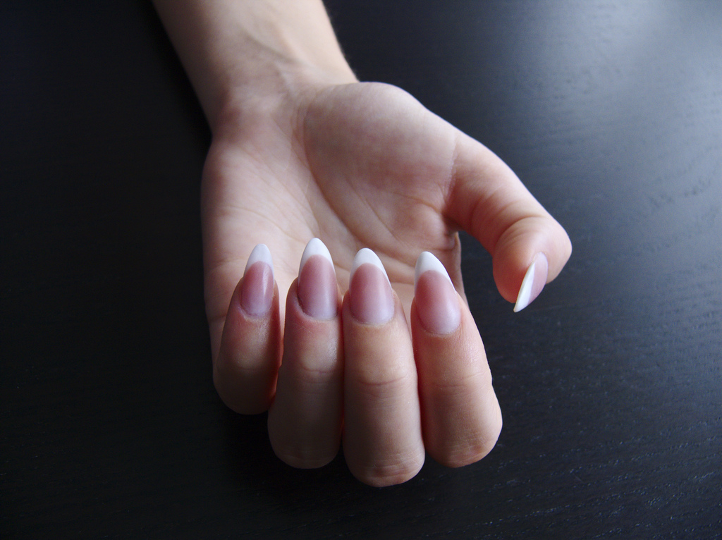 french acrylic nails almond shape photo - 2