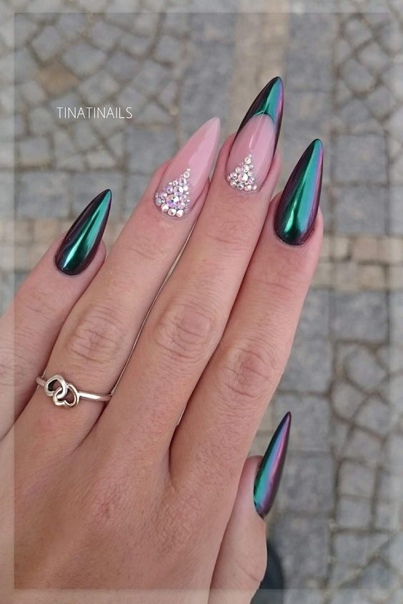 french manicure long nails stiletto photo - 1