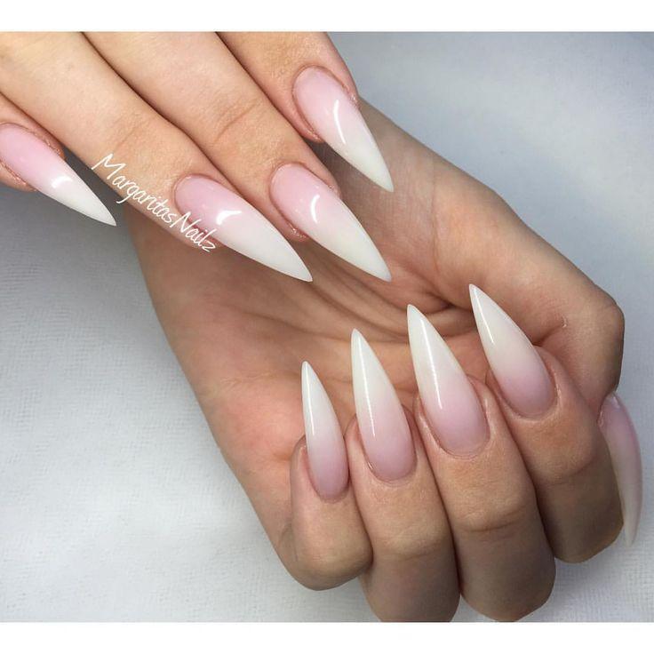 french ombre stiletto nails photo - 2