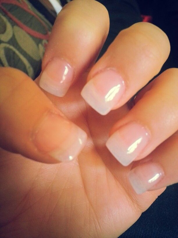 French tip acrylic nails with glitter - Expression Nails
