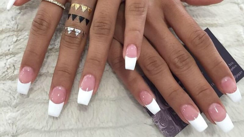 french tip nails coffin photo - 2