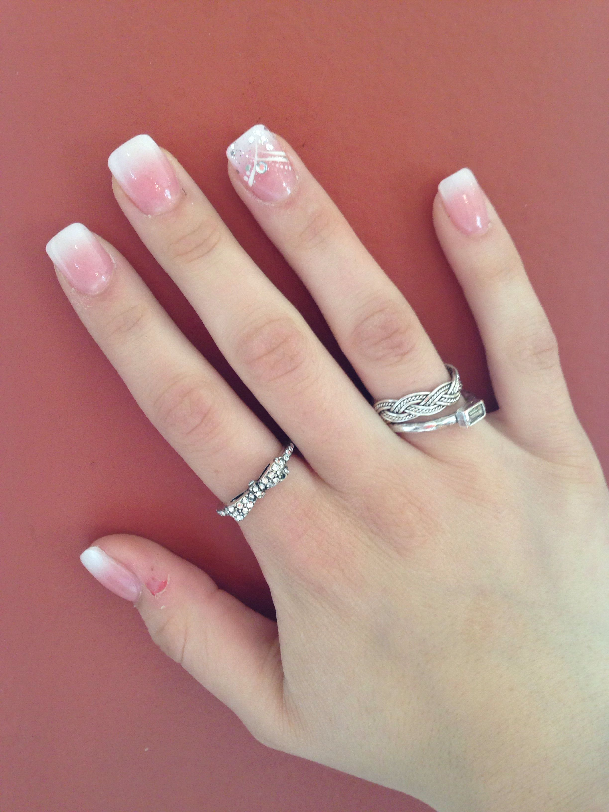 french tip ombre acrylic nails short photo - 1