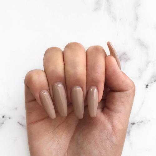 gel nails brown nude photo - 2