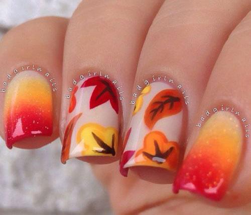 gel nails designs fall photo - 2