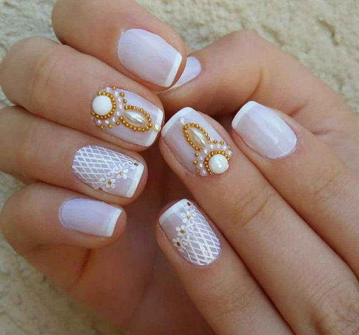 gel nails designs wedding photo - 1