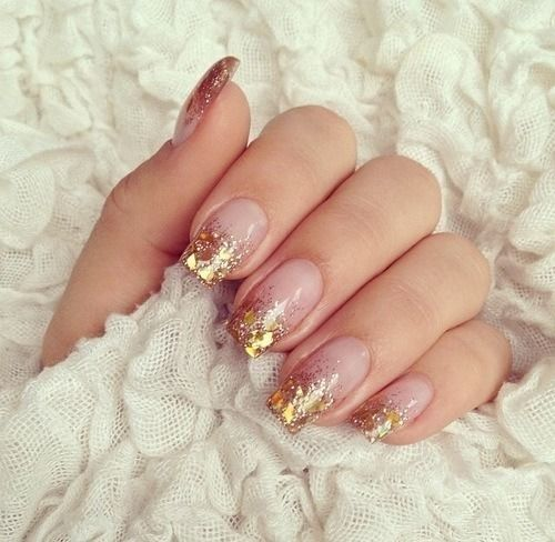 Glitter french tip acrylic nails - Expression Nails