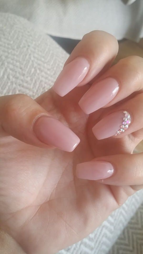 glitter tip with medium pink acrylic nails photo - 1