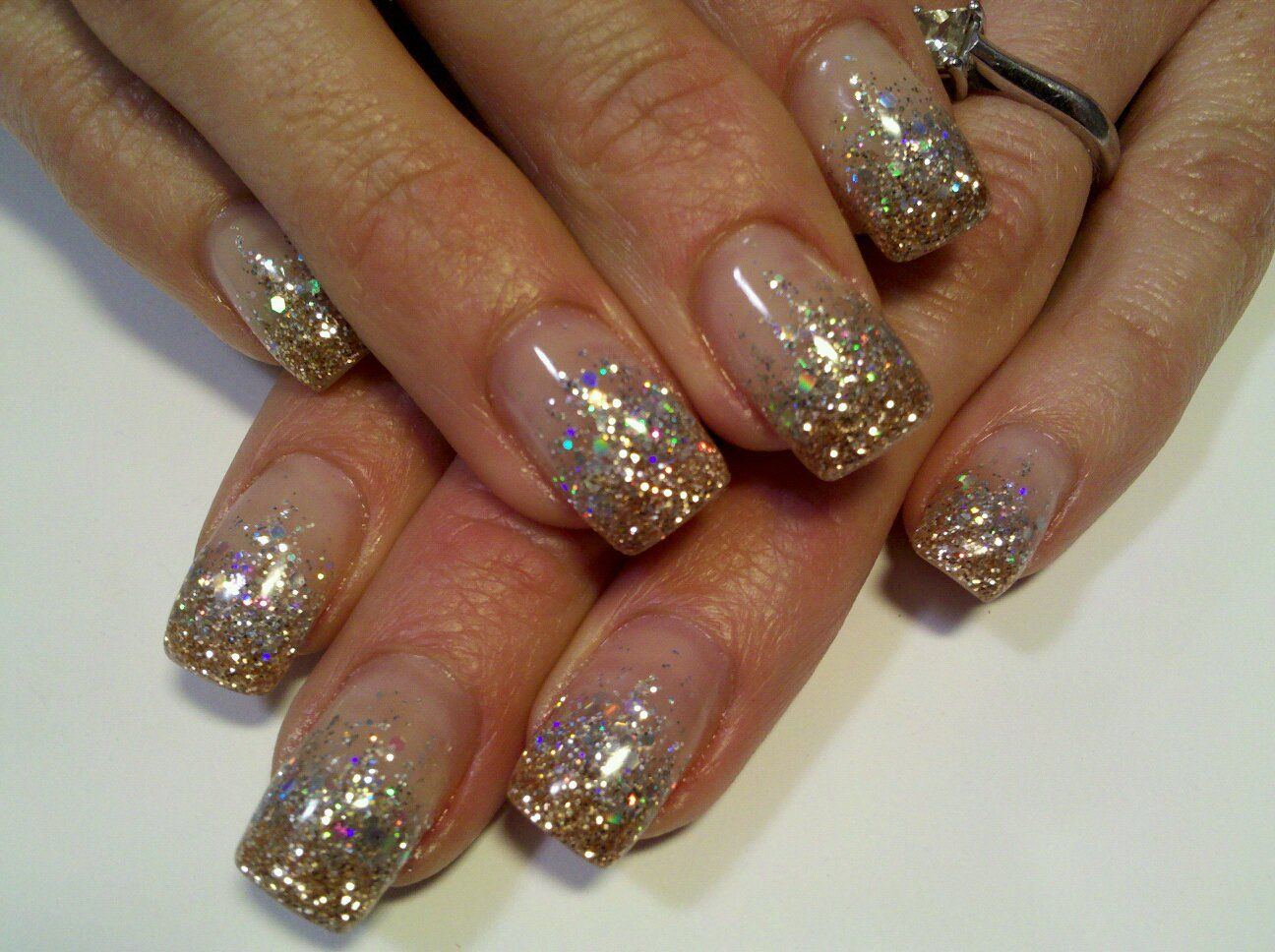 Gold glitter gel nails - Expression Nails