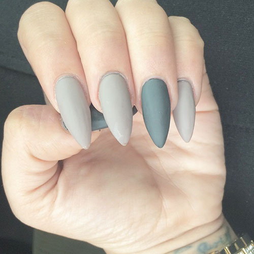 gray stiletto matte nails photo - 1