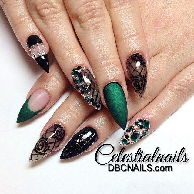 green and black stiletto nails photo - 2