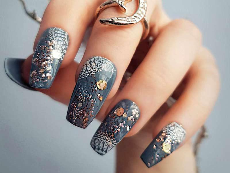 grey acrylic nails photo - 1