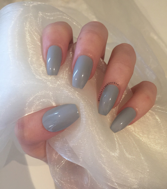 Grey coffin nails - Expression Nails