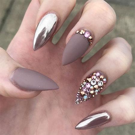 grey stiletto nails photo - 2