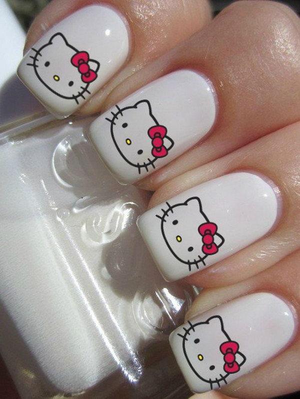 hello kitty gel nails photo - 2