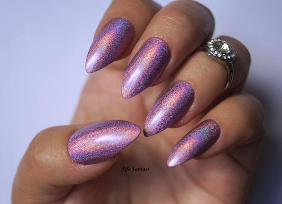 Holographic acrylic nails - Expression Nails