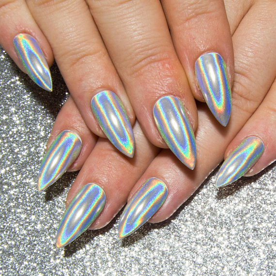 holographic chrome nails stiletto photo - 1