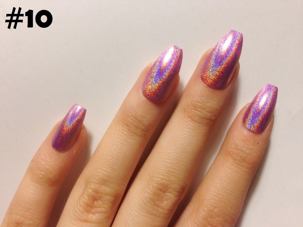 holographic nails coffin photo - 1