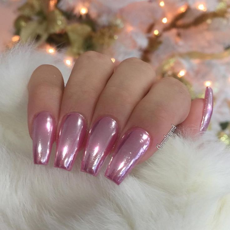 hot pink acrylic nails coffin photo - 1