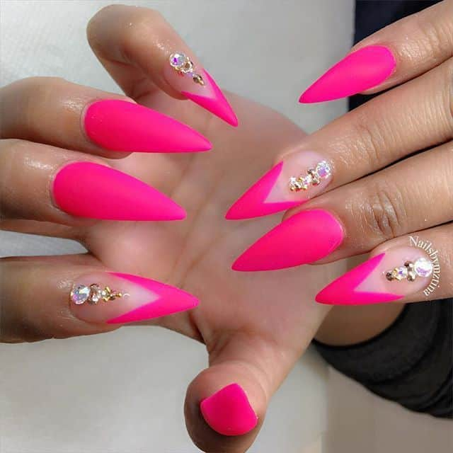 hot pink acrylic nails coffin photo - 2