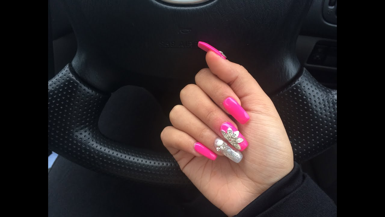 hot pink long acrylic nails photo - 1