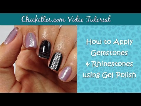 how to add rhinestones to gel nails at home photo - 2