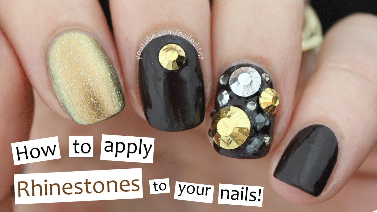 how to apply rhinestones to gel nails photo - 2
