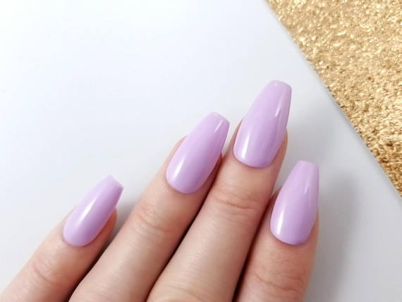 lavender acrylic nails on medium color hands photo - 2