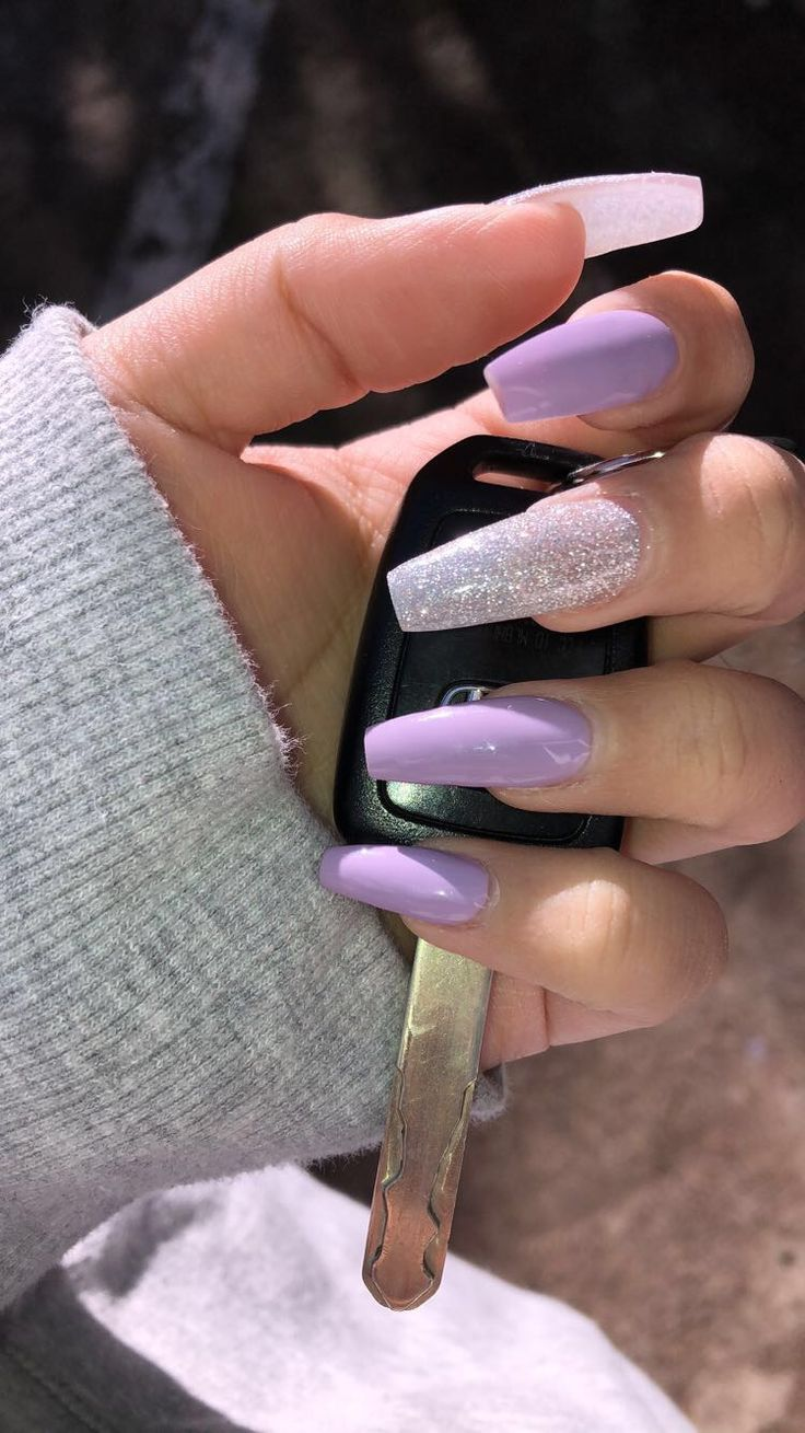 Lavender coffin nails , New Expression Nails