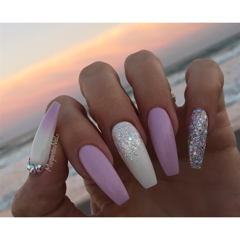 lavender colored coffin nails photo - 1