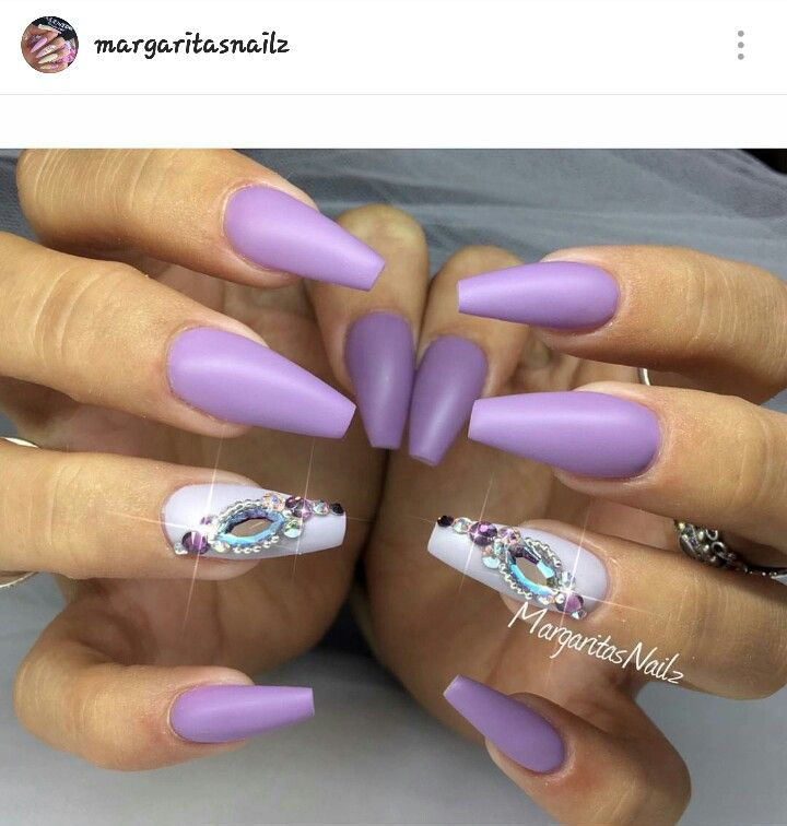 lavender colored coffin nails photo - 2