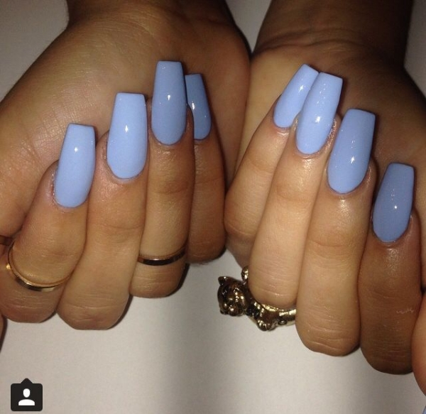 Light blue coffin nails - Expression Nails