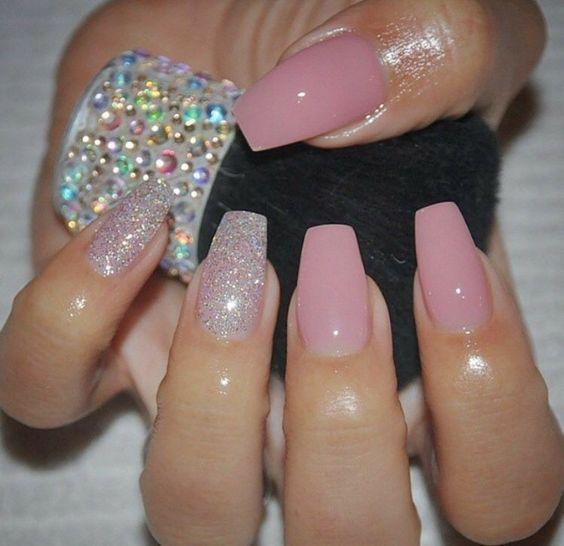 light pink acrylic nails almond photo - 2