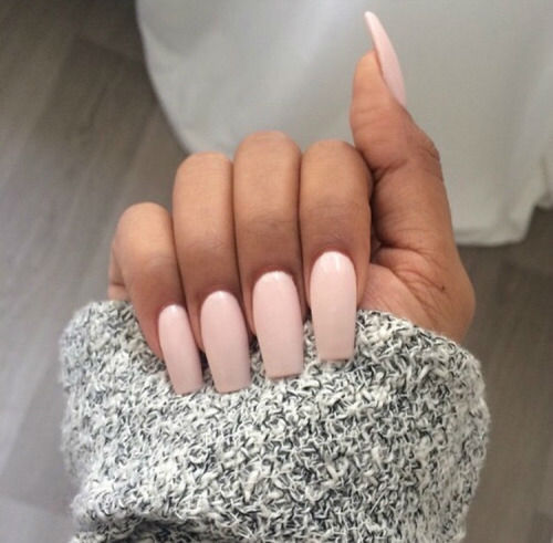 light pink acrylic nails coffin photo - 1
