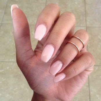 light pink coffin acrylic nails photo - 2