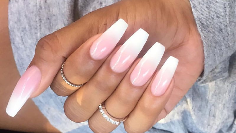 Long coffin shaped nails - Expression Nails