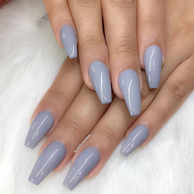 Pink And Gray Coffin Nails Nail And Manicure Trends