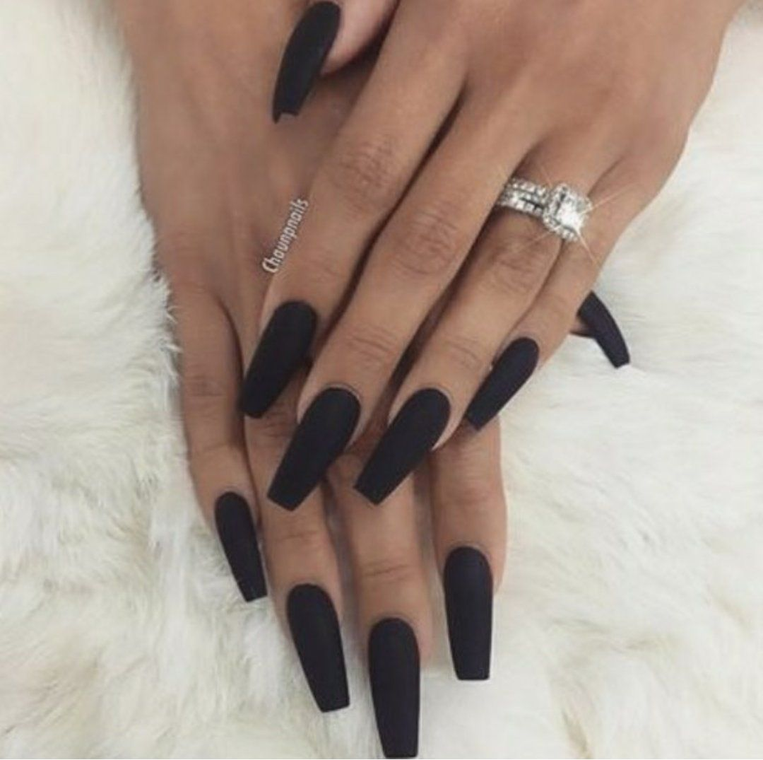 long matte black acrylic nails photo - 2
