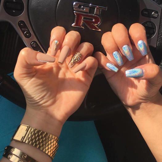 Long oval acrylic nails - Expression Nails