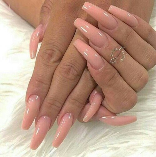 Long pink coffin nails – Expression Nails