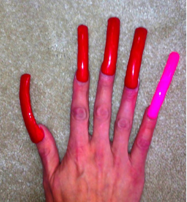 Long red acrylic nails - Expression Nails