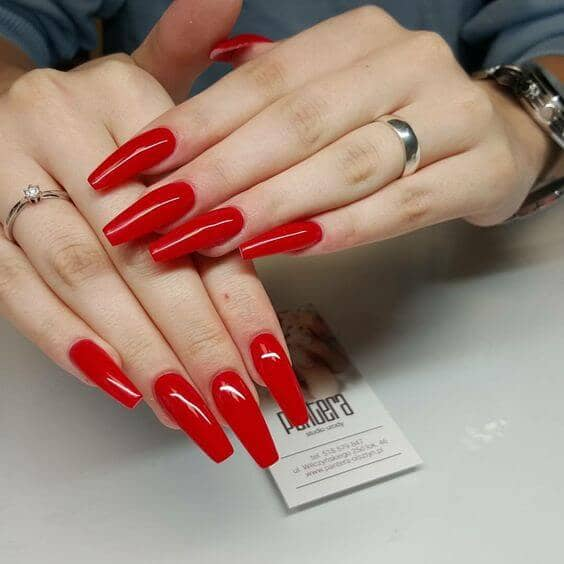 long red coffin nails photo - 1