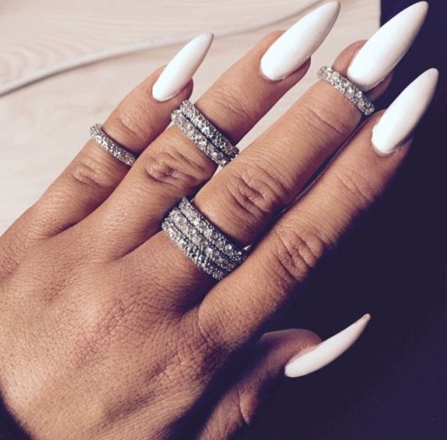 long white stiletto nails photo - 1