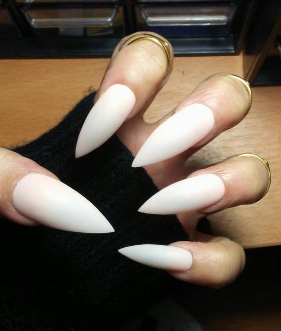 long white stiletto nails photo - 2