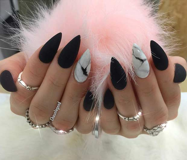 marble acrylic nails photo - 2