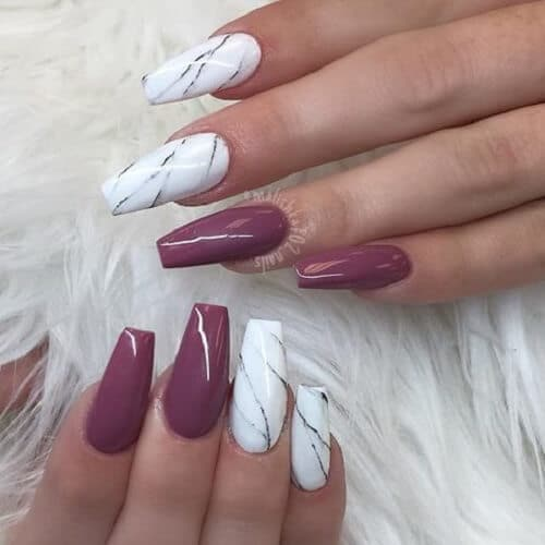 Marble nails coffin - Expression Nails