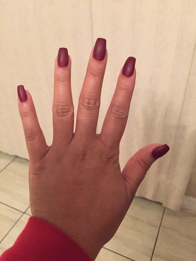 Maroon coffin nails - Expression Nails
