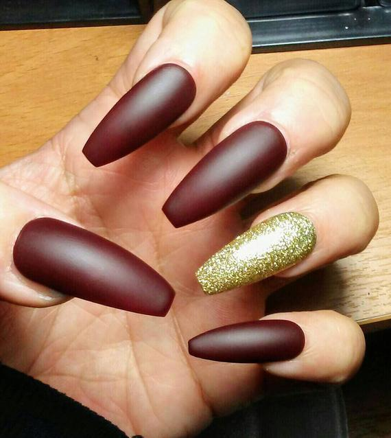 maroon coffin nails photo - 2