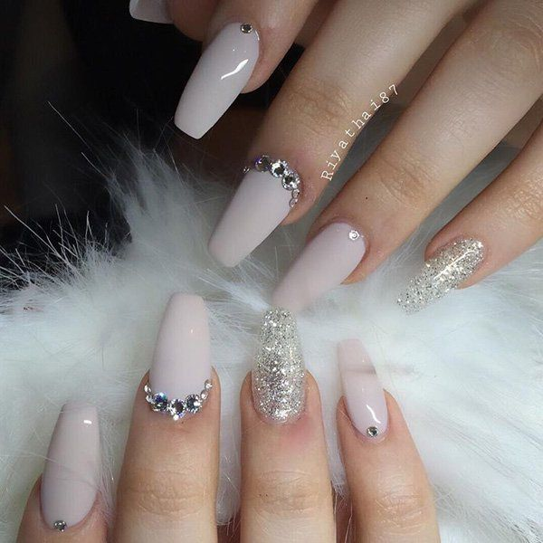 maroon coffin nails with diamonds photo - 1